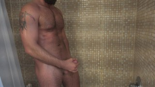 A Horny Guy Pees in the Shower and Jerks his Hard Cock until he Cums