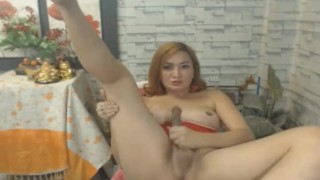 Shemale Babe Strokes her Big Dick in Solo Masturbation