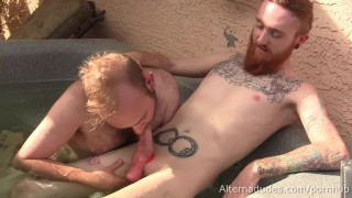 Ginger Hipster Fools Around in Hot Tub with Hairy Cub Blow Buddy