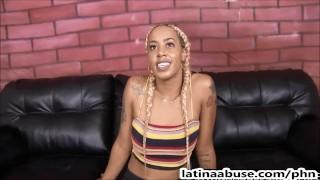 Latina gangster slut's throat destroyed by 2 Gringos