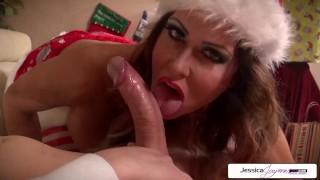 Naughty elf Jessica Jaymes sucking santas monster cock, big tits & big butt