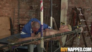 Old man whips and jerks off restrained submissive guy