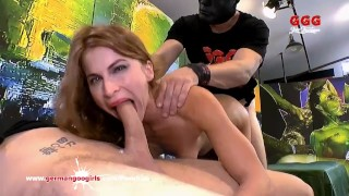 Thirsty for Cum MILF enjoys a hardcore gangbang - German Goo Girls