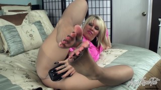 Angel Kissed Feet - Nikki Sucks Cock Then Gets Her Pantyhosed Feet Fucked