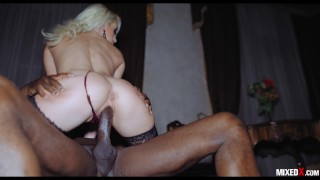Stepbrother stretching very hard his sister tight pussy during the night