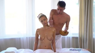 Massage Rooms Beautiful German blonde deepthroat and massage sex