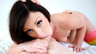 Sexy brunette Jennifer White deepthroats a big cock and swallows his cum