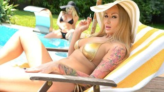 Hot bikini babes Victoria Summers & Kayla Green go down on their wet pinks