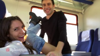 Amateur Couple Fucking on a Train with Facial - MySweetApple