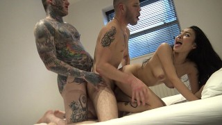 RaeLilBlack First Time Bisexual Threesome with Tattooed Boys