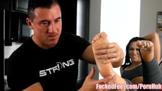 Hot Babe Sarah Brooke Gives A Footjob in Work Out Sneakers at FuckedFeet