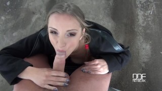 POV blowjob & titty fuck in the outdoors show Suzie's boobs covered in cum