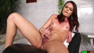 Hot shemale plugs her butthole with toy