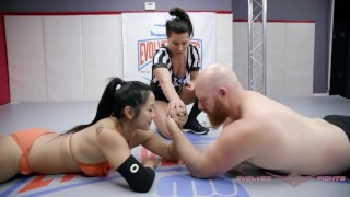 Mixed Wrestling Arm Wrestling Beautiful Strong man vs Hot Asian Woman