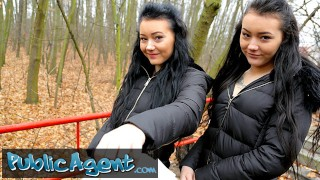 Public Agent Real Twins stopped on the street for indecent proposals