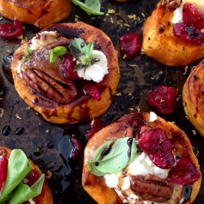 Sweet Potato Rounds Recipe with Goat Cheese, Cranberries & Balsamic Glaze