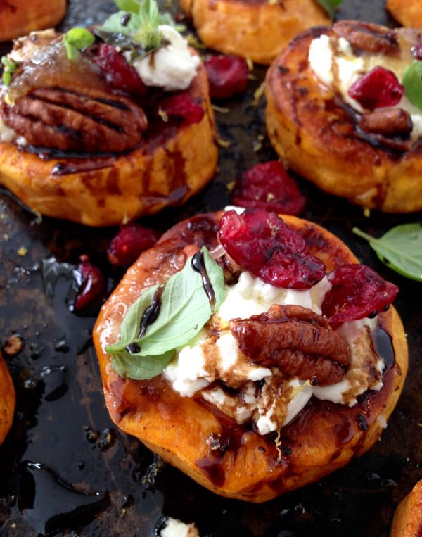 Sweet Potato Rounds Recipe with Goat Cheese, Cranberries & Balsamic ...
