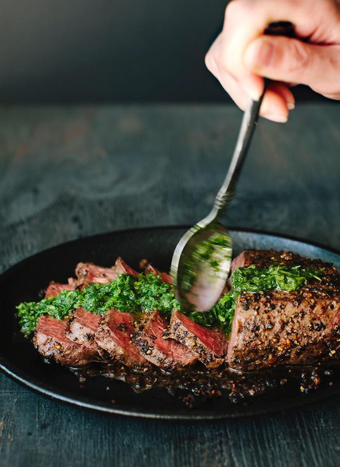 Chimichurri Steak Recipe with Peppercorn Crust - Ciao ...