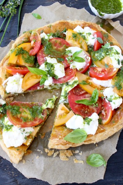 Puff Pastry Pizza with Fresh Tomatoes, Burrata & Prosciutto