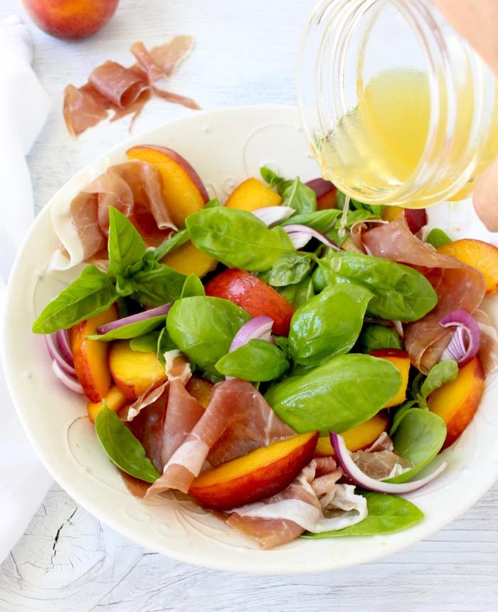 Basil Peach Salad Recipe with Honey Lemon Vinaigrette & Prosciutto di ...