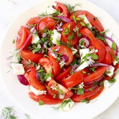 Tomato Onion Salad Recipe  (Mediterranean salad)