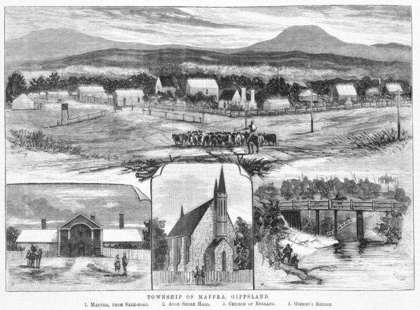 1882 Town of Maffra Gippsland Engraved by Samuel Calvert. IAN 13.5.1882. NOTE GIBNEY BRIDGE Accessed online via SLV