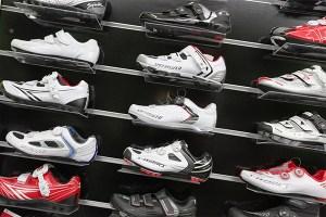 Muestrario de zapatillas automáticas. Ciclismo Indoor, spinning
