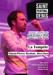 Concert - Bach the minimalist - Cie La Tempête - Festival de St Denis - 23 mars - 19h30 @ La Belle Etoile | Saint-Denis | Île-de-France | France