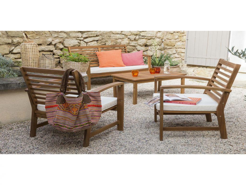 Salon De Jardin Bois Remmington 1 Table 190-230cm + 4 Chaises + 2 ...
