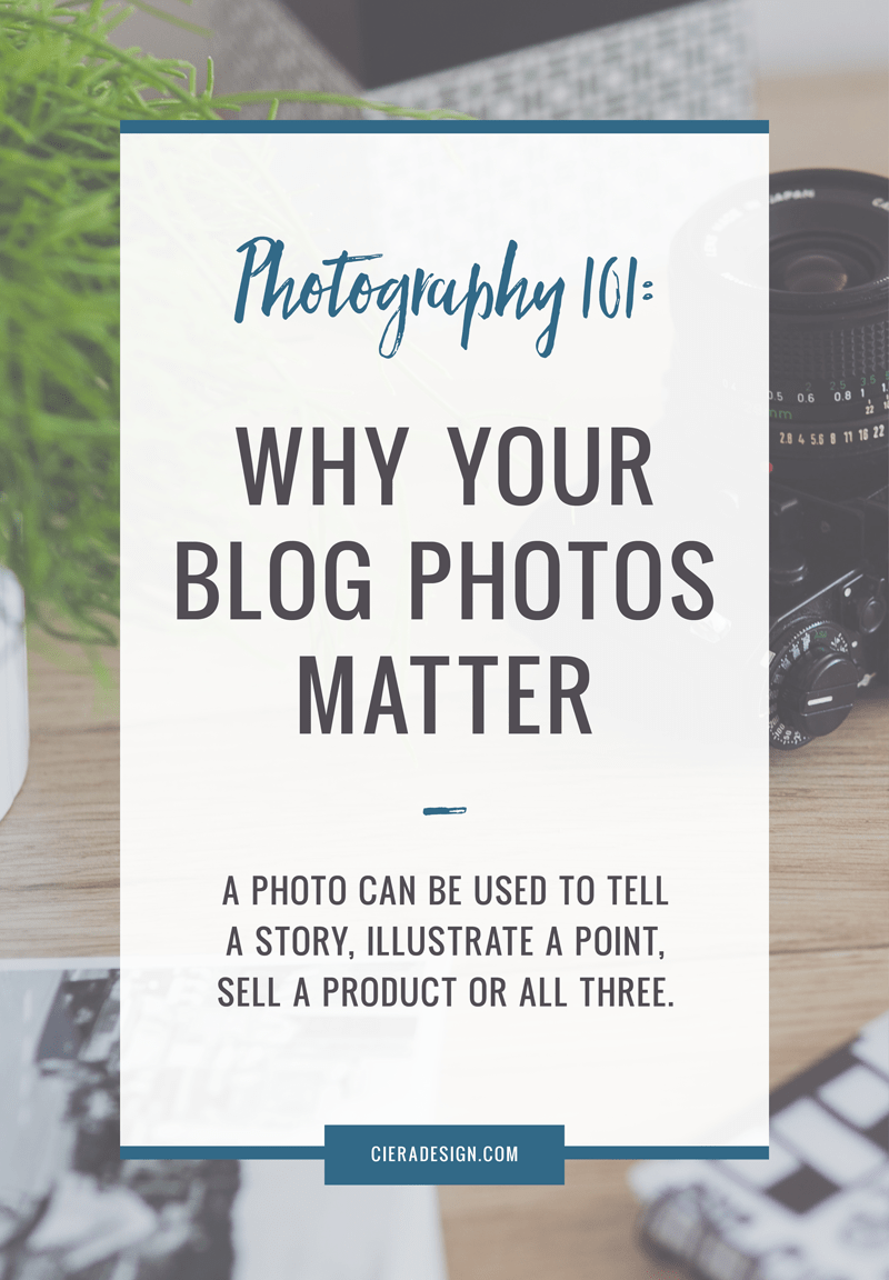 Whatever your goals are if you're using your blog as a platform to reach them – visual appeal is important. Blog photography matters because it makes your reader slow down and pay closer attention to what you're saying. A photo can be used to illustrate a point, tell a story, sell a product or all three.