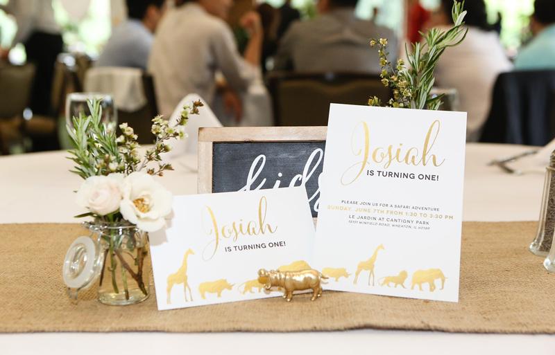Gold Safari First Birthday Party Invitations