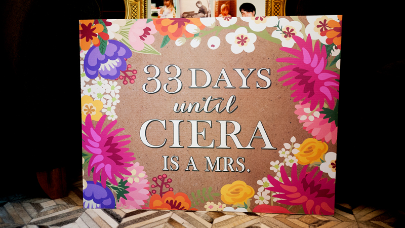 Floral Wedding Countdown Sign