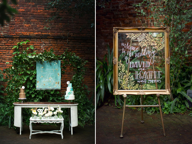 Dip-Dyed-Aqua-Gold-Wedding-Signs