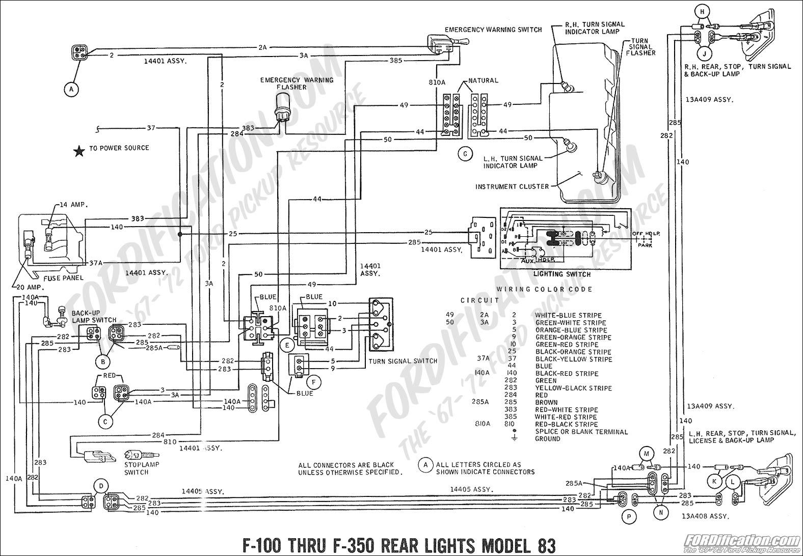 rear lights wiring diagram 69 ford f100