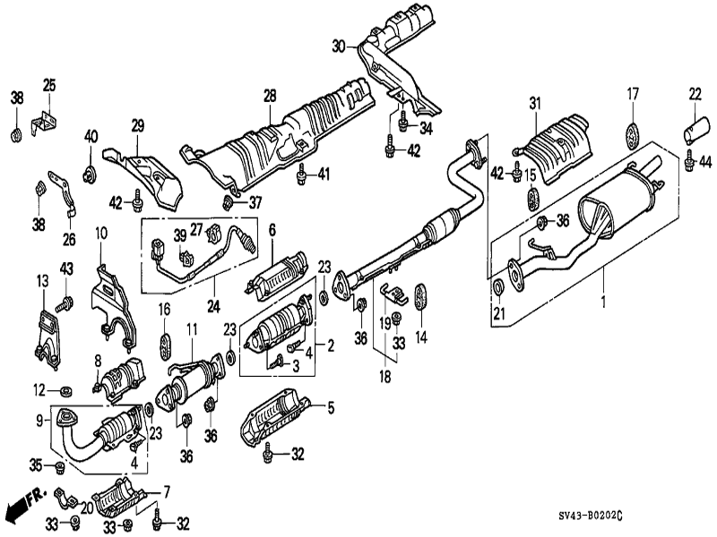 2006 honda civic exhaust system diagram