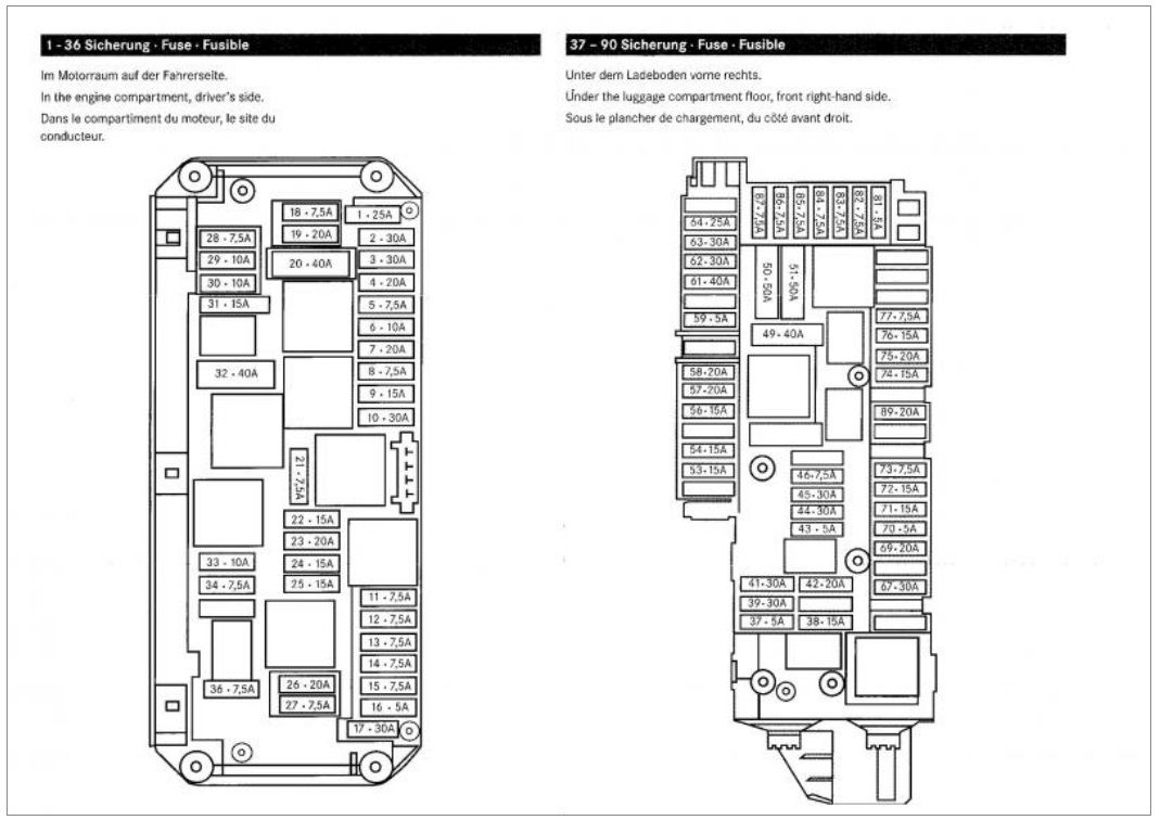 1986 mercedes benz 190e fuse box diagram