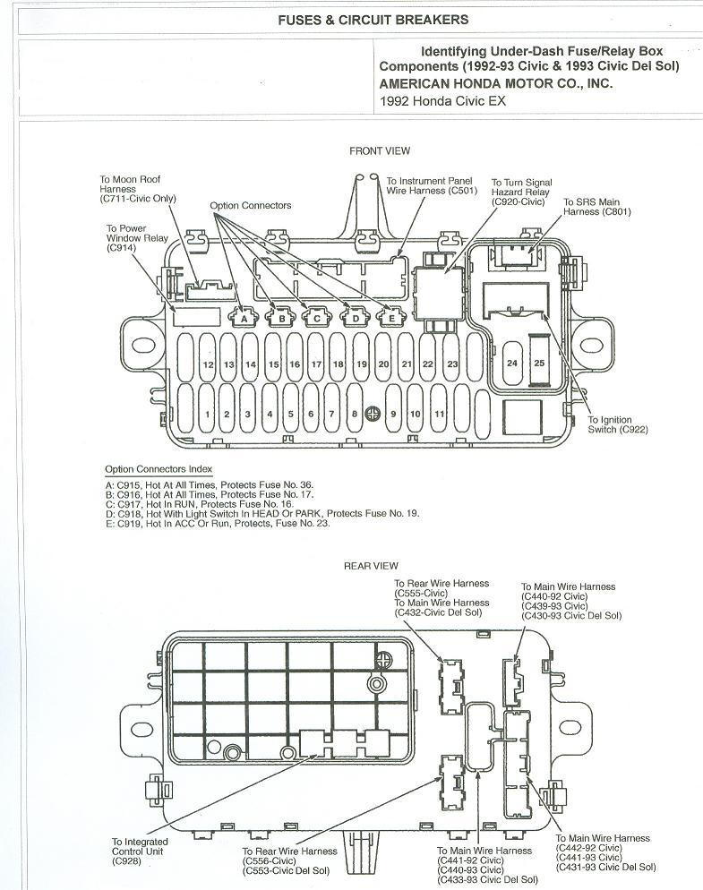 93 honda civic fuse panel diagram