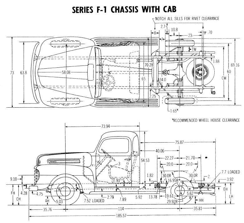 1948 ford f1 frame dimensions 3