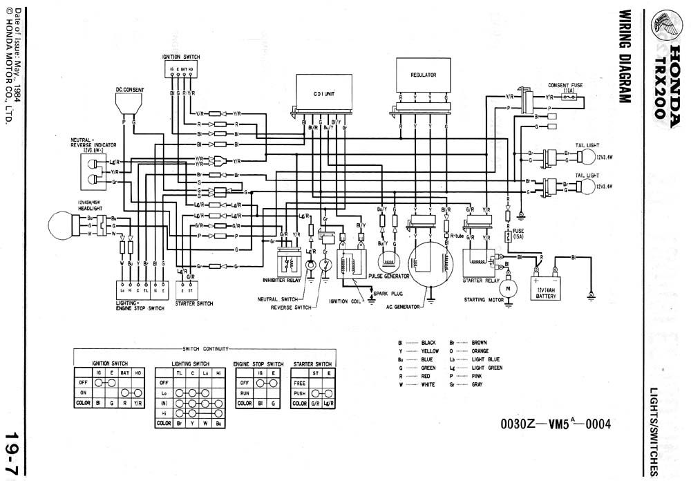 86 honda trx 200 wiring diagram