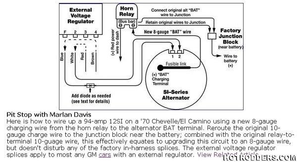 voltage regulator is built into the alternator see wiring diagram
