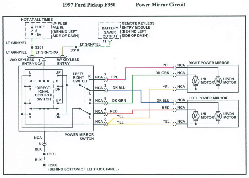 ford f150 power mirror wiring diagram