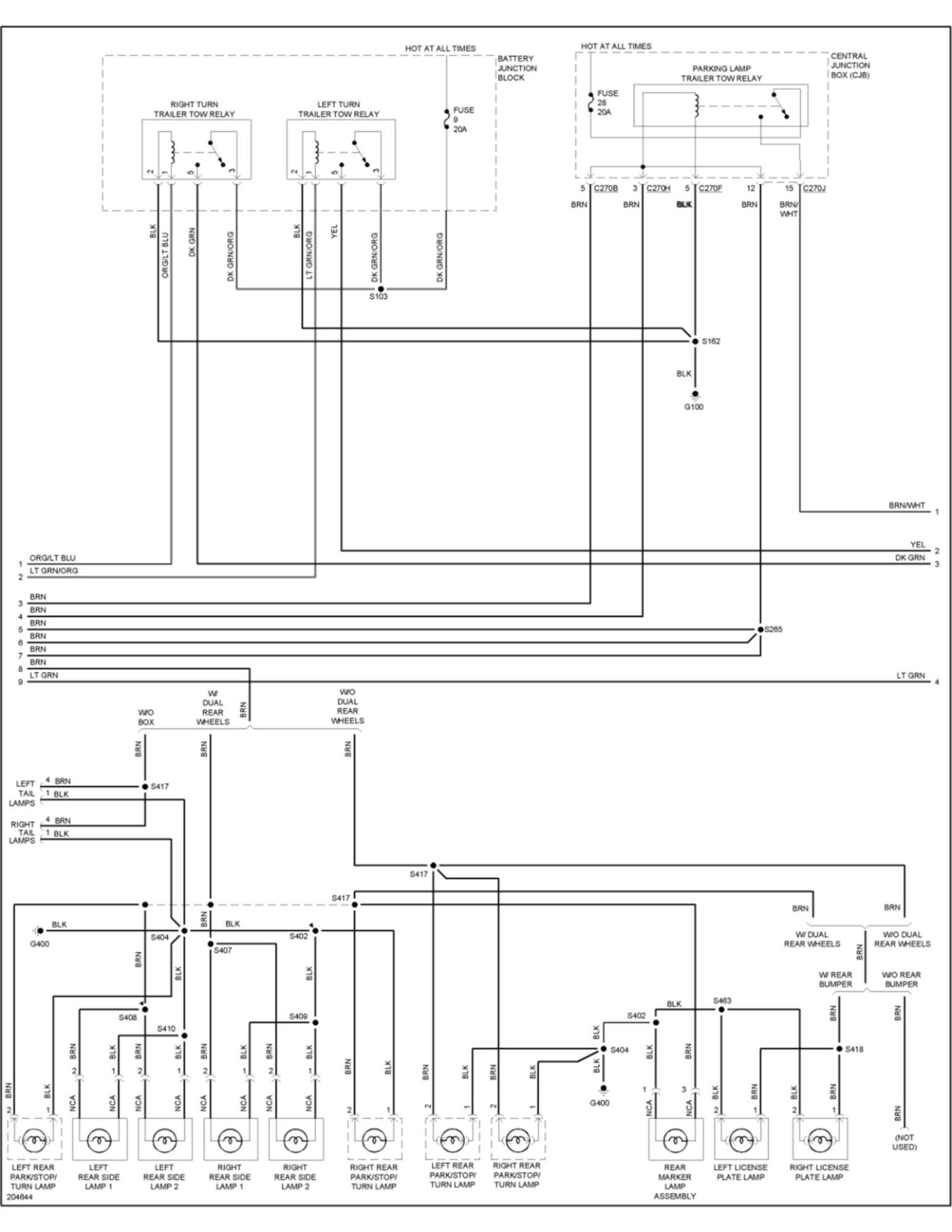 2006 f350 truck trailer plug wire diagram