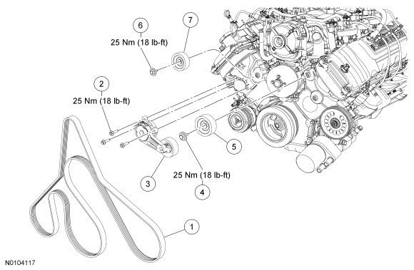 Ford F150 F250 Replace Serpentine Belt How to - Ford-Trucks