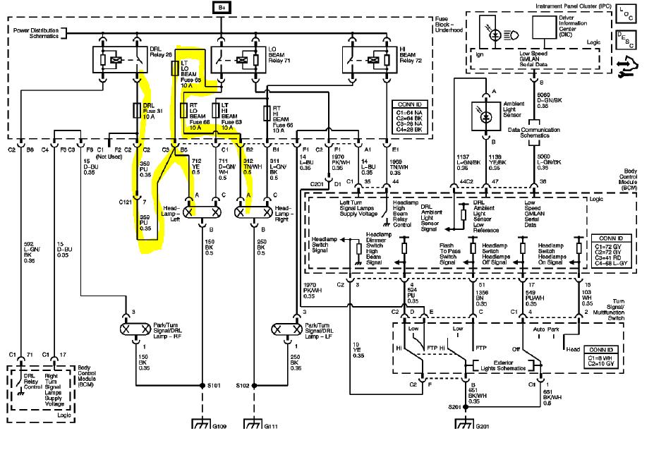 hhr headlight wiring diagram