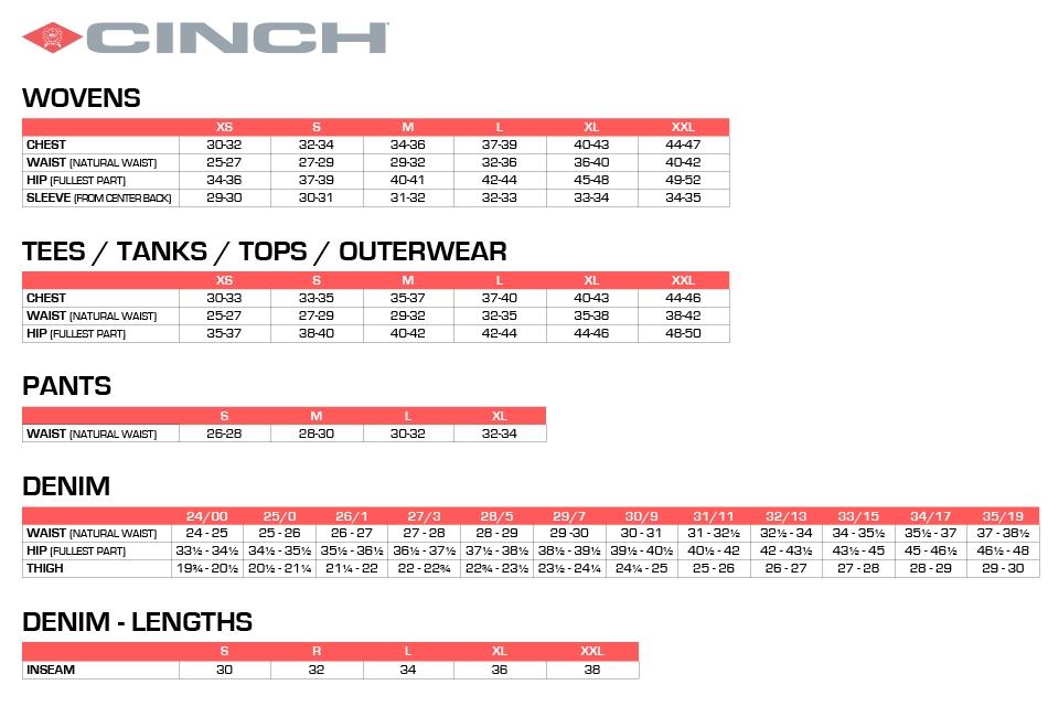 Size Chart - Cinch Jeans Online Store