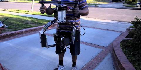 Brushless Gimbal Rig On Steroids: Sony F5 & Custom Mounted Anamorphic 85mm Lens: