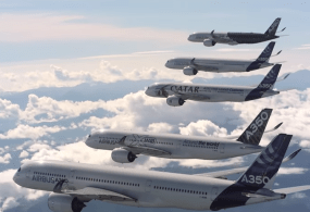 "BTS ""Family flight"" – Five A350 XWBs together in flight from Airbus"