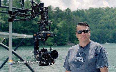 Flowcine Black Arm and Intuitive Aerial Newton Gimbal Filming Malibu Boats