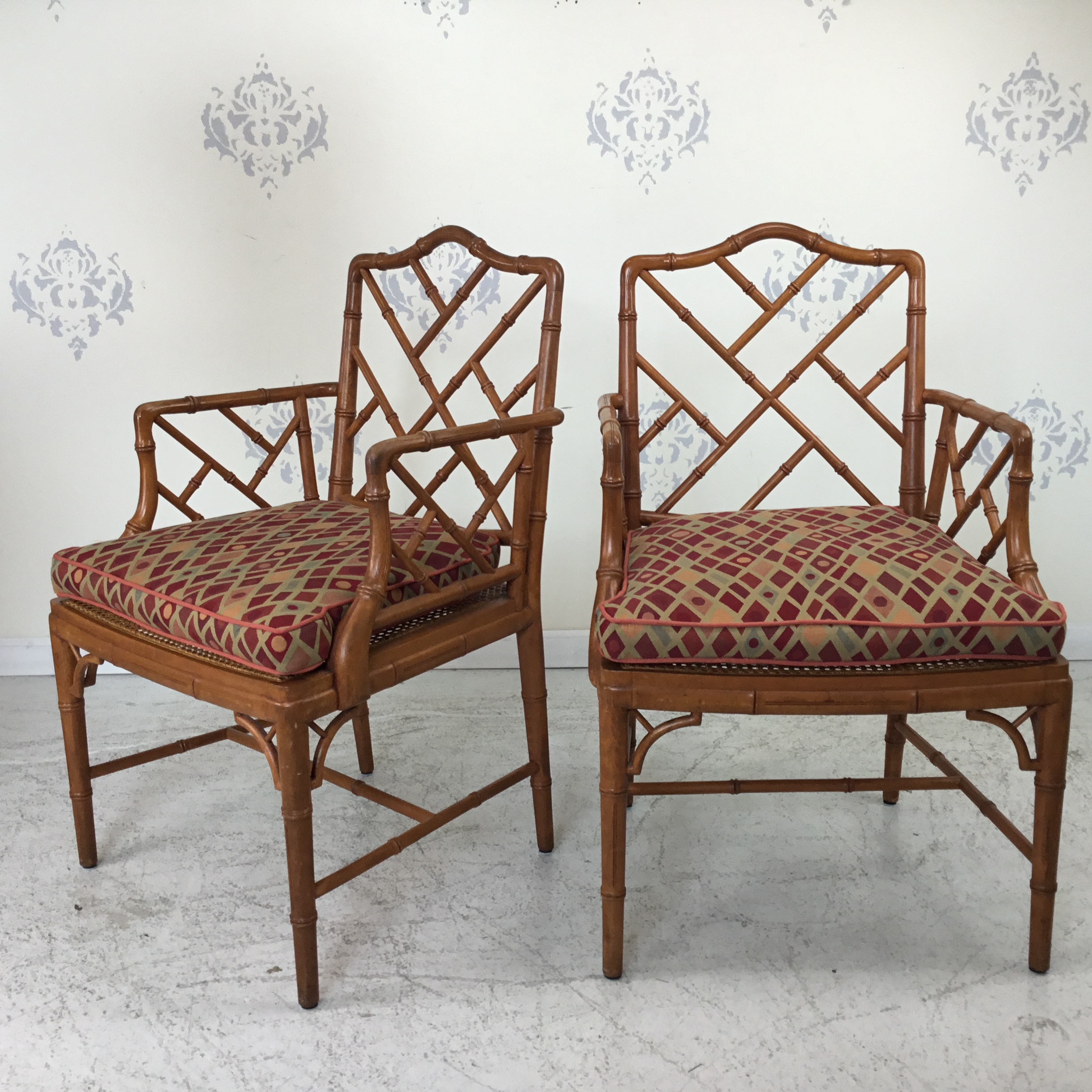 Arm Chairs Pair Of Faux Bamboo Chippendale Arm Chairs