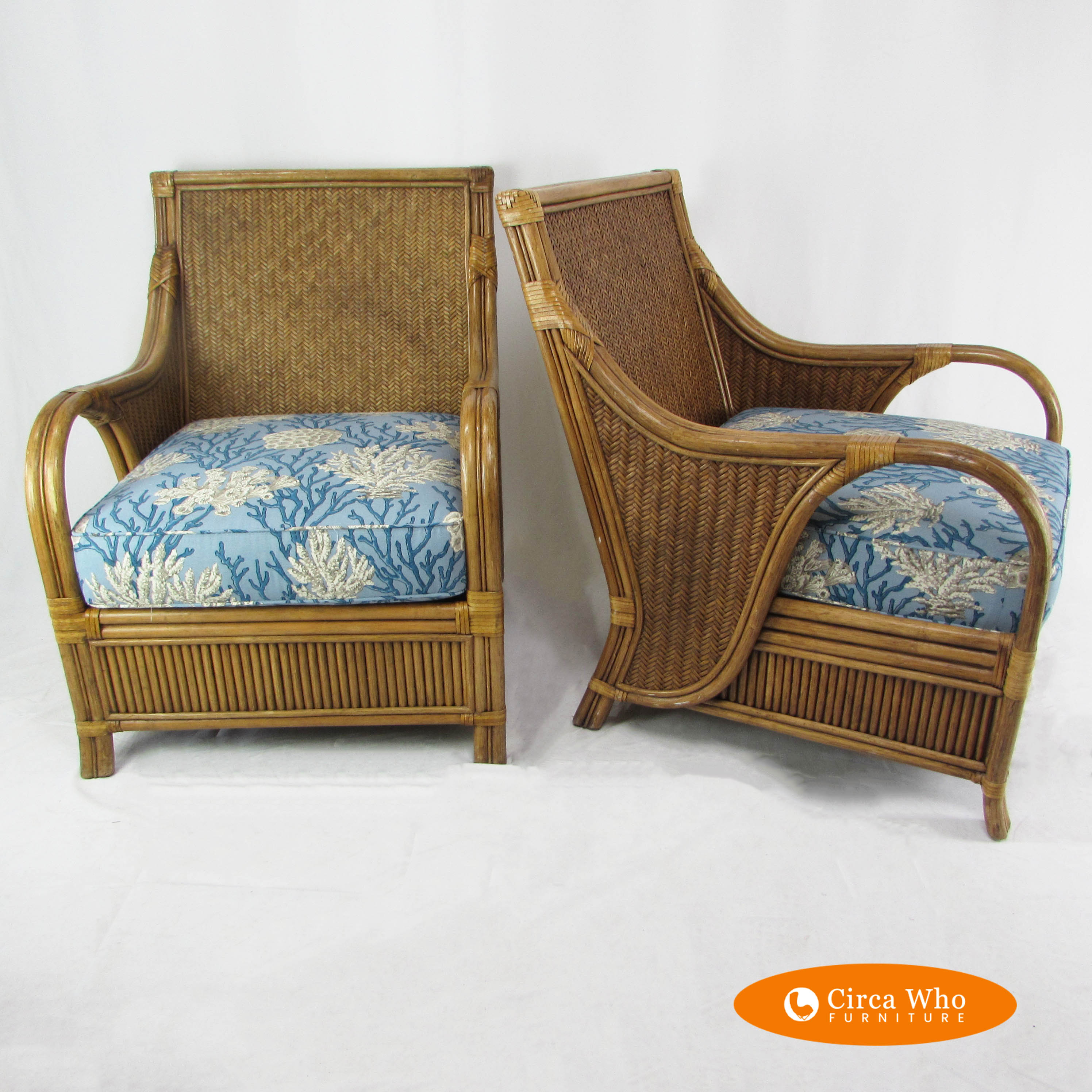 Rattan Chairs Woven Rattan Arm Chairs By Braxton Culler